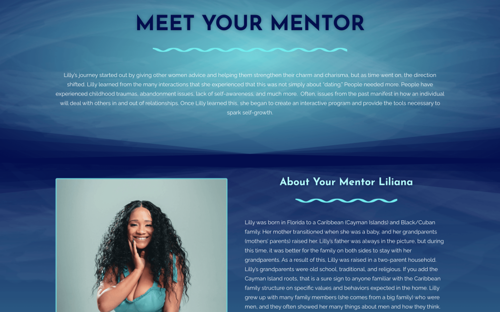 About page meet your mentor section