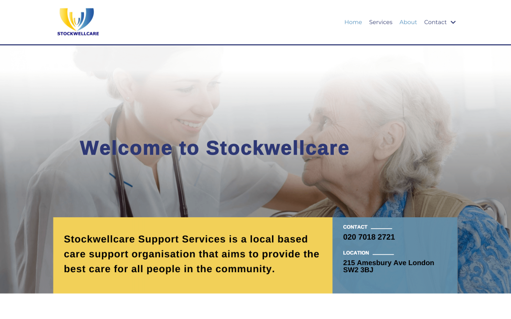 Stockwellcare Homes Homepage Screen shot