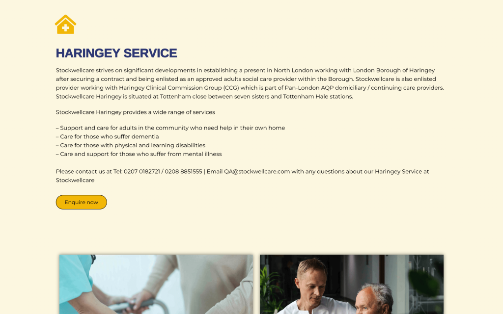 Services Haringey living section of webpage