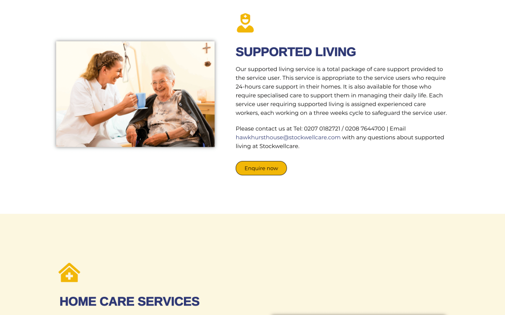 Services supported living section of webpage