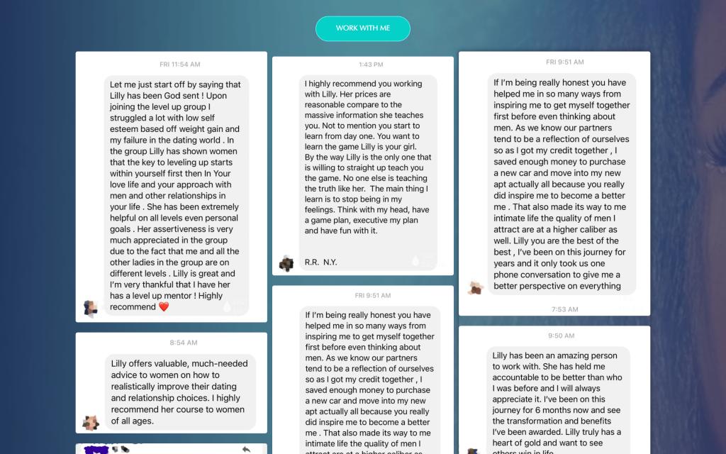 Testimonials screenshots